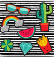 Patch set with cute cartoon vector image