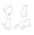 paths cats set on white background vector image vector image