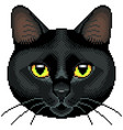 pixel black cat face isolated vector image vector image