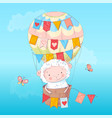 poster cute lamb in a balloon hand drawing vector image vector image