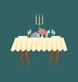 restaurant table with candlestick and cutlery icon vector image