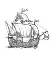 sailing ship floating on sea waves caravel vector image