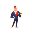 self confident businessman character in blue suit vector image vector image