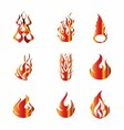 Set of Fire Icons Elements vector image vector image