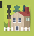simple things - landscape with a house vector image vector image