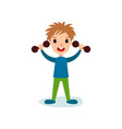 smiling little boy character exercising with vector image vector image