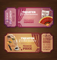 Theatre Tickets Banners Set vector image vector image