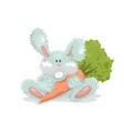 toy bunny holds carrot cute fluffy rabbit vector image