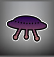 ufo simple sign violet gradient icon with vector image