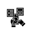 user interaction black icon sign on vector image