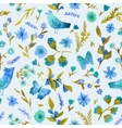 Watercolor seamless pattern with flowers leaves vector image