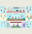 colorful fitness infographic horizontal banners vector image