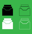 documents archieve or drawer icon black and white vector image