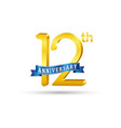 12th golden anniversary logo with blue ribbon