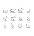 animals farm black thin line icon set vector image vector image