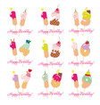birthday cards set festive sweet numbers from 11 vector image vector image