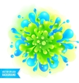 Blue and green paint splash on watercolor vector image vector image