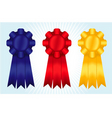 blue red and yellow ribbons vector image vector image