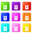 bucket with paint icons 9 set vector image vector image