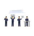 business man character design set woman with vector image vector image