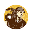 Cameraman Film Crew Pro Video Movie Camera vector image vector image