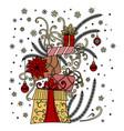 christmas greeting card pile holiday presents vector image vector image