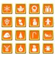 christmas icons set orange vector image vector image