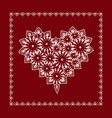 delicate sweet lace heart on a red background vector image