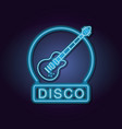 disco emblem neon lights vector image