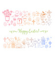 easter greeting card with colored easter doodles vector image