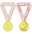 easy gold medal maze vector image vector image