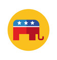 elephant with usa flag block and flat style vector image vector image
