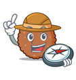 explorer chocolate biscuit mascot cartoon vector image vector image