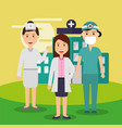 female doctor nurse and surgeon staff medical team vector image vector image