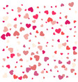 flying heart confetti valentines day background vector image
