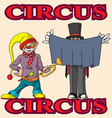 funny cartoon circus clown and a magician vector image