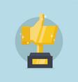 golden thumb up trophy vector image