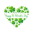 happy st patricks day heart on white vector image