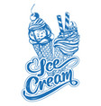 ice cream logo calligraphic text hand drawn vector image vector image