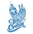 ice cream logo calligraphic text hand drawn vector image
