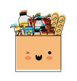 kawaii paper bag with market of food and drinks in vector image
