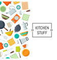 kitchen utensils flat icons background vector image vector image