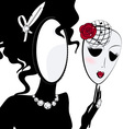 lady mirror with mask vector image