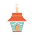 lantern candle flame ramadan arabic islamic vector image