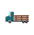 man driving truck delivery farming concept vector image