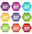 number calendar icons set 9 vector image
