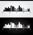 Omaha usa skyline and landmarks silhouette