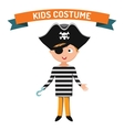Pirate kid costume isolated vector image vector image
