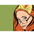 Pop Art of girl with red hair vector image