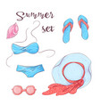 poster beach accessories on sand vector image vector image